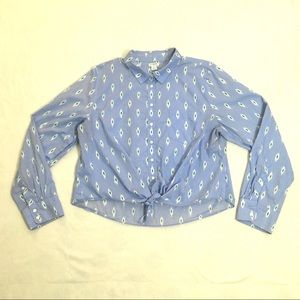 J. Crew light blue cropped button-up blouse top